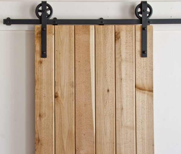 Large Slim Spoked Strap Barn Door Hardware | Barndoorhardware.com