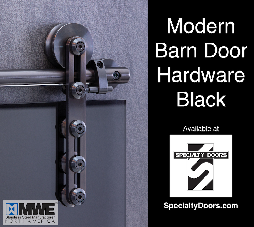Modern Barn Door Hardware Black - Available from SpecialtyDoors.com